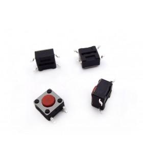 انواع کلید و شاسی و ولوم تک سوئیچ SMD سایز 6x6x4.3 چهار پایه قرمز