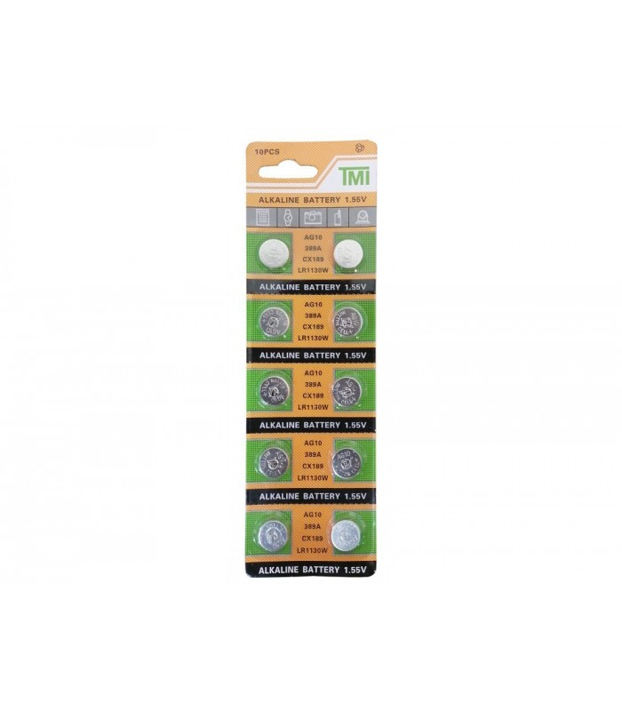 باتری سکه ای آلکالاین AG10 مارک TMI ورق 10 تایی